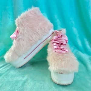YRU Pink Elevation Fuzzy Platform Shoes
